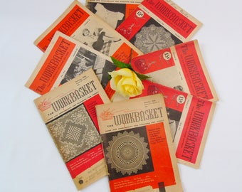 The Workbasket Magazines 8 Vintage Home and Needlecraft For Pleasure and Profit 1956 and 1958 Knit Crochet Sewing Paint Recipes Advertising