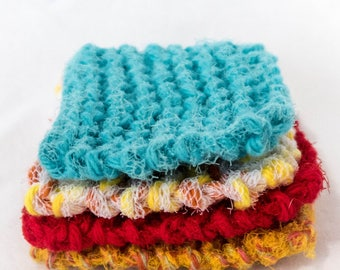 Four Mini Kitchen Bathroom Scrubbies brights