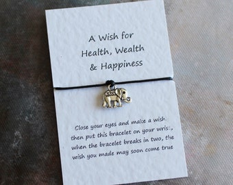 A Little Wish for Health, Wealth and Happiness, Elephant Bracelet, Wish Bracelet, Friendship Bracelet, Star Bracelet, Good Luck Card,