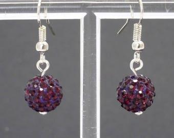 Dark purple, sparkly ball earrings