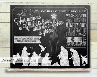 Printable Christmas Chalkboard Bible Verse 8 x 10 Poster Isaiah 9:6