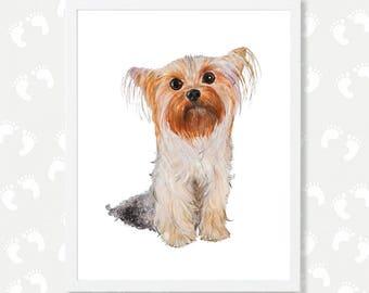 Yorkie Dog Art Print Yorkshire Terrier Nursery Printable Art Dog Watercolor Painting Baby Room Decor Instant Digital Download Yorkie Gift