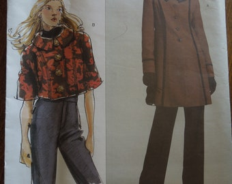 """Vogue V2991, sizes bust 32""""-55"""", misses, unlined jacket in two lengths, UNCUT sewing pattern"""