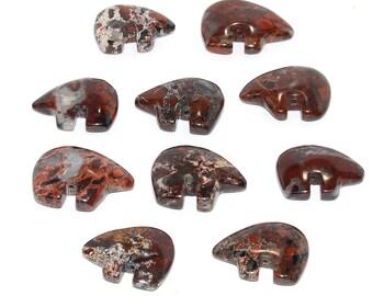 Jaspe Poppy grand Zuni Style ours fétiche perles gros grosse focale sud-ouest Berry brique marron rouge Merlot vin Totem Protection des animaux