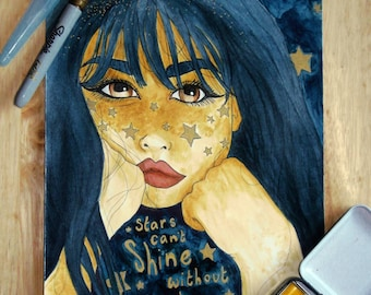 Stars shine A4 painting
