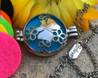 Essential Oil Pendant Diffuser Necklace/Butterfly with Believe charm/Felt Pads/28 Inch necklace