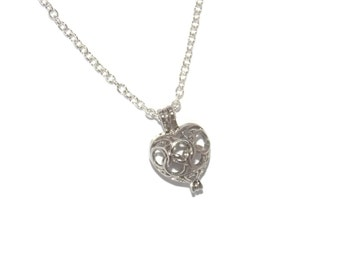 Heart Pearl Cage Pendant Necklace Choose Stainless Steel, Standard or Snake Chain or Cage Only Options