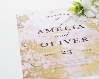 Pink Marble Wedding Invite (KWINVITE103)