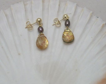 Rutilated Quartz and Pearl Earrings