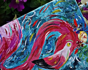 Bold Texture Colorful Pink Flamingo Flower Crown Original Painting