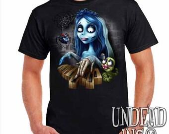 Corpse Bride Maggot Black Widow Piano - Mens T Shirt Tim Burton