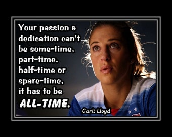 "Inspirational Soccer Champion Art Print, Photo Wall Art, Motivation Quote Wall Decor, Gift, Home Decor, , Carli Lloyd, 8x10"", 11x14"""