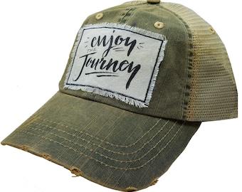 "Womens Baseball Hat, Womens Baseball Caps, Womens hats, Womens Caps, Trucker Cap, ""Enjoy The Journey"", Trucker Hat, Ladies Trucker Hat, Hats"