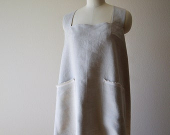 Linen Crossback Japanese Pinafore Apron