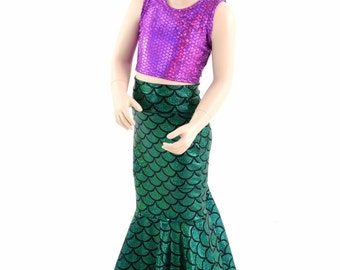 Girls Mermaid Skirt & Crop Top Set in Green Dragon Scale/ Purple Fish Scale  Sizes 2T 3T 4T and 5-12   152180