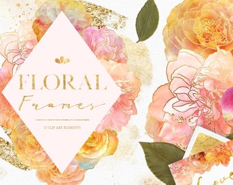 Watercolor Flower Clipart Borders - Flowers Frame Clipart - Blush Pink Gold Floral Wedding Clipart - Flower Border Clipart - Clip Art Frames