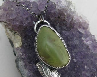 Green Alunite Feather Pendant // Sterling Silver // Hand Crafted // Artisan // Eco Friendly
