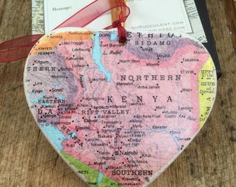 Kenya Map Christmas Ornament, Your Special Place in the Heart / HONEYMOON Gift / Wedding Map Gift / Travel Tree Ornament /