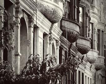 New York City street Photo,Windows, Manhattan, Brownstone building, Black & white,Architectural design, Wall Art, Wall Decor, Fine Art
