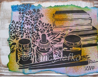 make art - 9 x 12 ORIGINAL MIXED MEDIA by Nancy Lefko