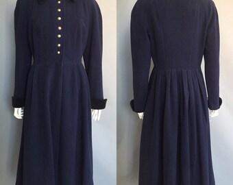 1940s 1950s fit and flare coat / princess coat / navy blue coat
