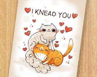Cat Card Digital Download, printable 5 by 7 card, cat card
