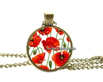 Red poppies necklace , Poppies pendant , poppies charm jewelry ,flower jewelry, Poppy Flower Necklace