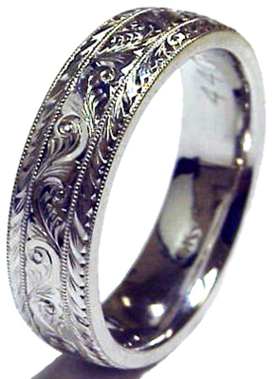Mens 14K Gold Wedding Ring 6mm Hand Engraved Made To