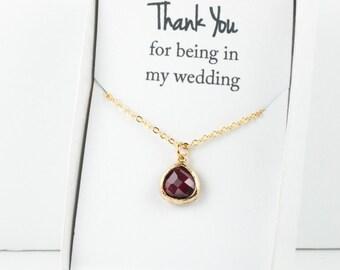 Burgundy Gold Necklace, Bridesmaid Garnet Necklace, Red and Gold Necklace, Red Wedding Accessory, Bridesmaid Necklace, Bridesmaid Jewelry