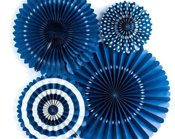Navy Party Fans - Party Paper Fans - Navy Party Decor - Paper Fan Backdrop - Navy Backdrop - Navy Pinwheel - Paper Rosettes -  Navy PGB207