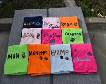 PERSONALIZED Beach Towel with Design Custom Embroidery Name 100% Terry Cotton Velour Towel Made to Order