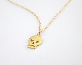 Petite tête de mort or collier 14k Gold Filled chaîne