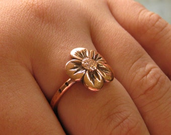 Flower Ring, Hand Sculpted Flower Ring, Copper Flower Ring, Sterling Silver Flower Ring, Daisy Flower Ring, Recycled Copper, Hammered Ring