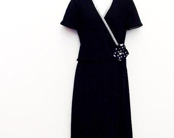 Black Day Dress / Upcycled Vintage Fashion / US Size 4 Black Dress - Black & White Jacket - Black Polka Dots Brooch / OOAK Gift Under 50