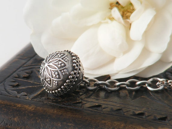 Victorian Sterling Silver Orb Pendant | Antique Albertina Chain Fob Ball | Etruscan Revival Pendant - 20 Inch Sterling Chain