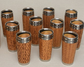 Set of 10 pcs Wooden Travel Mugs Personalized GIFT Custom Order Engravings Bamboo Car Mug Stainless Steel with Lid