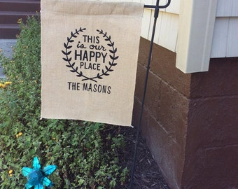 This is Our Happy PLACE CUSTOM Monogram Burlap Garden Flag, Monogrammed Burlap Flag, Personalized Gift, Monogrammed Home Decor