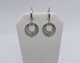 "14K White Gold and Diamond Dangle Earrings ""Final Sale"""