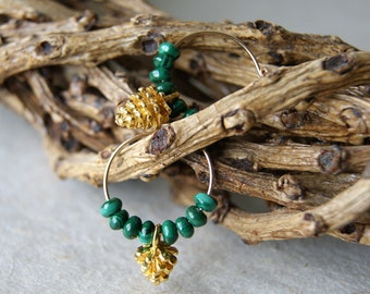 Pine Cone Earrings - Gold fill hoops with gold pinecones and green malachite