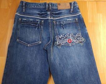TRIBAL Gear jeans blue baggy jeans vintage 90s hip-hop clothing, 1990s hip hop shirt, OG, lowrider, chicano, gangsta rap, size W 32