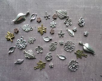 35 silver small leaf flower Nature Floral Bronze Metal charms