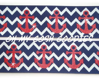 "NAVY CHEVRON ANCHORS Grosgrain Ribbon 7/8"" & 1.5"" - 5 Yards - Oh My Gosh Goodies Ribbon"
