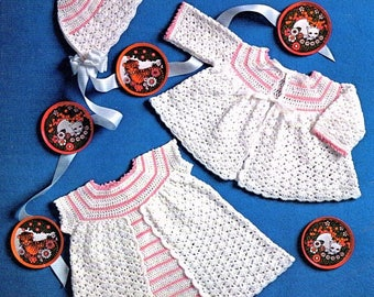 Vintage Crochet Pattern PDF Baby Dress Coat and Bonnet   Coat Jacket Cardigan Angel Top Hat  3ply