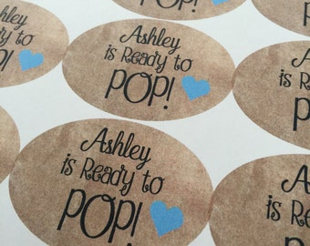 Ready To Pop Stickers, Ready to Pop, Ready to Pop Tag, Ready to Pop Baby Shower Popcorn, Custom Stickers, Sticker Labels, 15 STICKERS