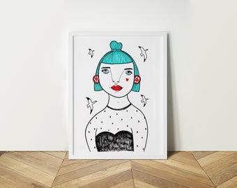 Blue hair Girl (A4)