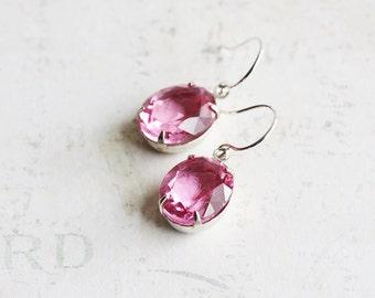 Light Pink Earrings, Small Pink Dangles on Silver Plated Hooks, Oval Rhinestone Earrings, Vintage Style Jewelry