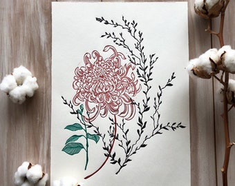 Bouquet with chrysanthemum. Original linocut print
