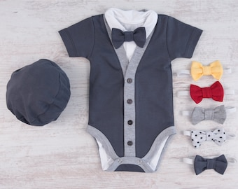 Baby Boy Clothes, Graphite Gray Cardigan, Bodysuit, Hat & Bow Tie Set, Baby Boy Cardigan, Baby Boy Coming Home Outfit, Baby Shower Gift
