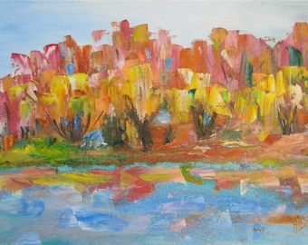 Painting - forest, autumn, landscape. Drawing on the canvas oil paints.