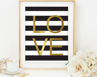 love print love printable love art black and gold print black and white stripes print printable art dorm room decor home decoration